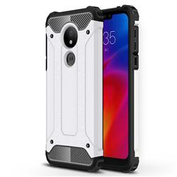 King Kong Armor Premium Shockproof Dual Layer Rugged Hard Cover for Motorola Moto G7 Power - White
