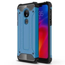 King Kong Armor Premium Shockproof Dual Layer Rugged Hard Cover for Motorola Moto G7 Power - Sky Blue