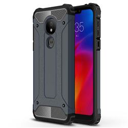 King Kong Armor Premium Shockproof Dual Layer Rugged Hard Cover for Motorola Moto G7 Power - Navy