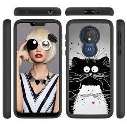 Black and White Cat Shock Absorbing Hybrid Defender Rugged Phone Case Cover for Motorola Moto G7 Power