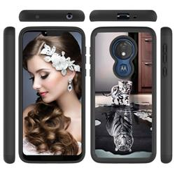 Cat and Tiger Shock Absorbing Hybrid Defender Rugged Phone Case Cover for Motorola Moto G7 Power
