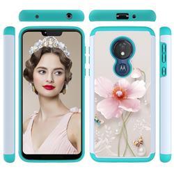 Pearl Flower Shock Absorbing Hybrid Defender Rugged Phone Case Cover for Motorola Moto G7 Power