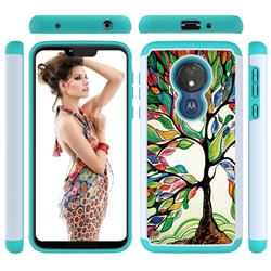 Multicolored Tree Shock Absorbing Hybrid Defender Rugged Phone Case Cover for Motorola Moto G7 Power