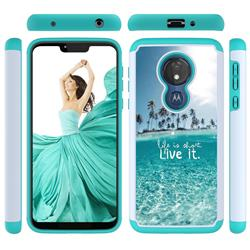 Sea and Tree Shock Absorbing Hybrid Defender Rugged Phone Case Cover for Motorola Moto G7 Power