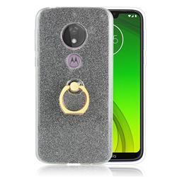 Luxury Soft TPU Glitter Back Ring Cover with 360 Rotate Finger Holder Buckle for Motorola Moto G7 Power - Black
