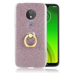 Luxury Soft TPU Glitter Back Ring Cover with 360 Rotate Finger Holder Buckle for Motorola Moto G7 Power - Pink