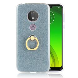 Luxury Soft TPU Glitter Back Ring Cover with 360 Rotate Finger Holder Buckle for Motorola Moto G7 Power - Blue