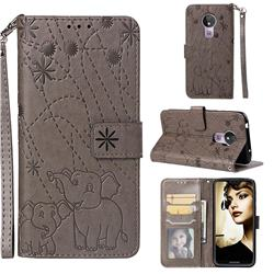 Embossing Fireworks Elephant Leather Wallet Case for Motorola Moto G7 Power - Gray