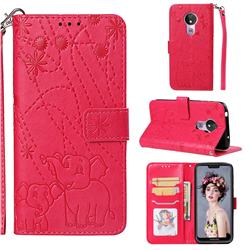 Embossing Fireworks Elephant Leather Wallet Case for Motorola Moto G7 Power - Red