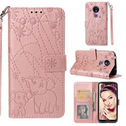 Embossing Fireworks Elephant Leather Wallet Case for Motorola Moto G7 Power - Rose Gold