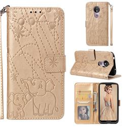 Embossing Fireworks Elephant Leather Wallet Case for Motorola Moto G7 Power - Golden