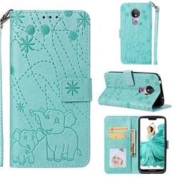 Embossing Fireworks Elephant Leather Wallet Case for Motorola Moto G7 Power - Green