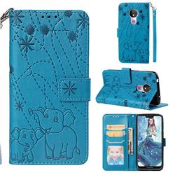 Embossing Fireworks Elephant Leather Wallet Case for Motorola Moto G7 Power - Blue