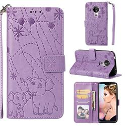 Embossing Fireworks Elephant Leather Wallet Case for Motorola Moto G7 Power - Purple