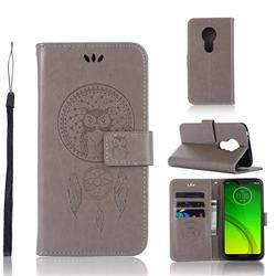 Intricate Embossing Owl Campanula Leather Wallet Case for Motorola Moto G7 Power - Grey