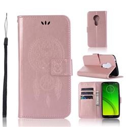 Intricate Embossing Owl Campanula Leather Wallet Case for Motorola Moto G7 Power - Rose Gold