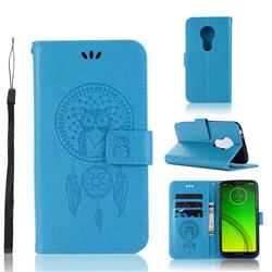 Intricate Embossing Owl Campanula Leather Wallet Case for Motorola Moto G7 Power - Blue