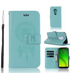 Intricate Embossing Owl Campanula Leather Wallet Case for Motorola Moto G7 Power - Green