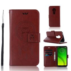 Intricate Embossing Owl Campanula Leather Wallet Case for Motorola Moto G7 Power - Brown