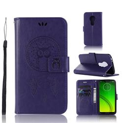 Intricate Embossing Owl Campanula Leather Wallet Case for Motorola Moto G7 Power - Purple