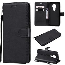 Retro Greek Classic Smooth PU Leather Wallet Phone Case for Motorola Moto G7 Power - Black