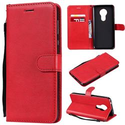 Retro Greek Classic Smooth PU Leather Wallet Phone Case for Motorola Moto G7 Power - Red