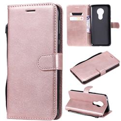 Retro Greek Classic Smooth PU Leather Wallet Phone Case for Motorola Moto G7 Power - Rose Gold