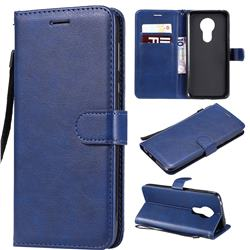 Retro Greek Classic Smooth PU Leather Wallet Phone Case for Motorola Moto G7 Power - Blue