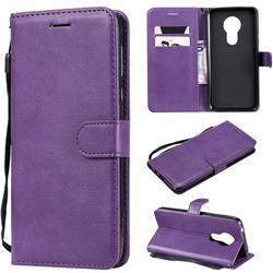 Retro Greek Classic Smooth PU Leather Wallet Phone Case for Motorola Moto G7 Power - Purple