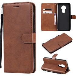 Retro Greek Classic Smooth PU Leather Wallet Phone Case for Motorola Moto G7 Power - Brown