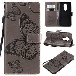 Embossing 3D Butterfly Leather Wallet Case for Motorola Moto G7 Power - Gray