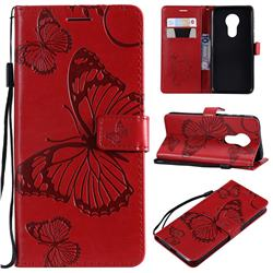 Embossing 3D Butterfly Leather Wallet Case for Motorola Moto G7 Power - Red