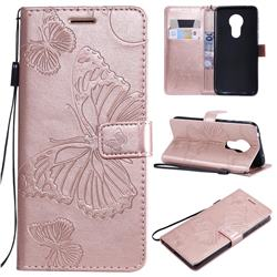 Embossing 3D Butterfly Leather Wallet Case for Motorola Moto G7 Power - Rose Gold
