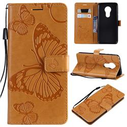 Embossing 3D Butterfly Leather Wallet Case for Motorola Moto G7 Power - Yellow