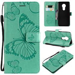 Embossing 3D Butterfly Leather Wallet Case for Motorola Moto G7 Power - Green