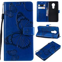 Embossing 3D Butterfly Leather Wallet Case for Motorola Moto G7 Power - Blue