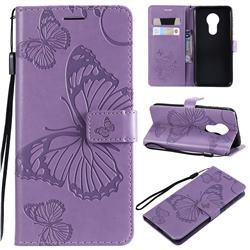 Embossing 3D Butterfly Leather Wallet Case for Motorola Moto G7 Power - Purple
