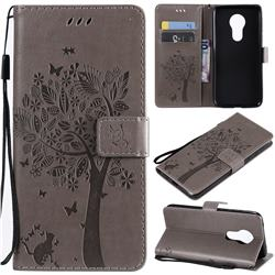 Embossing Butterfly Tree Leather Wallet Case for Motorola Moto G7 Power - Grey