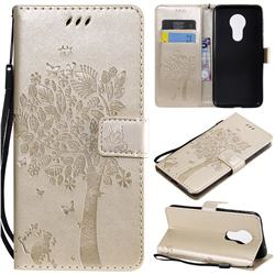 Embossing Butterfly Tree Leather Wallet Case for Motorola Moto G7 Power - Champagne
