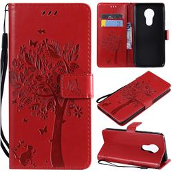 Embossing Butterfly Tree Leather Wallet Case for Motorola Moto G7 Power - Red
