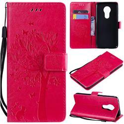 Embossing Butterfly Tree Leather Wallet Case for Motorola Moto G7 Power - Rose