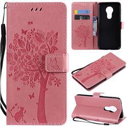 Embossing Butterfly Tree Leather Wallet Case for Motorola Moto G7 Power - Pink