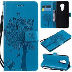 Embossing Butterfly Tree Leather Wallet Case for Motorola Moto G7 Power - Blue