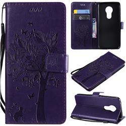 Embossing Butterfly Tree Leather Wallet Case for Motorola Moto G7 Power - Purple