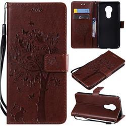 Embossing Butterfly Tree Leather Wallet Case for Motorola Moto G7 Power - Coffee