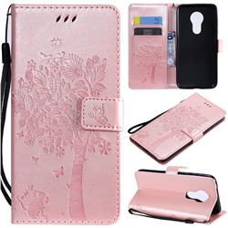 Embossing Butterfly Tree Leather Wallet Case for Motorola Moto G7 Power - Rose Pink