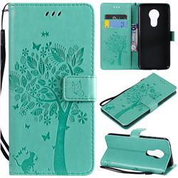 Embossing Butterfly Tree Leather Wallet Case for Motorola Moto G7 Power - Cyan