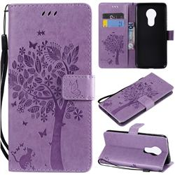 Embossing Butterfly Tree Leather Wallet Case for Motorola Moto G7 Power - Violet