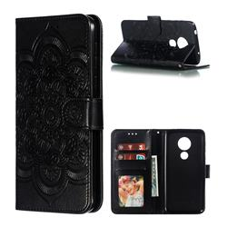 Intricate Embossing Datura Solar Leather Wallet Case for Motorola Moto G7 Power - Black