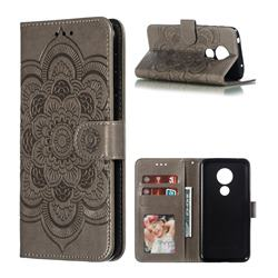 Intricate Embossing Datura Solar Leather Wallet Case for Motorola Moto G7 Power - Gray